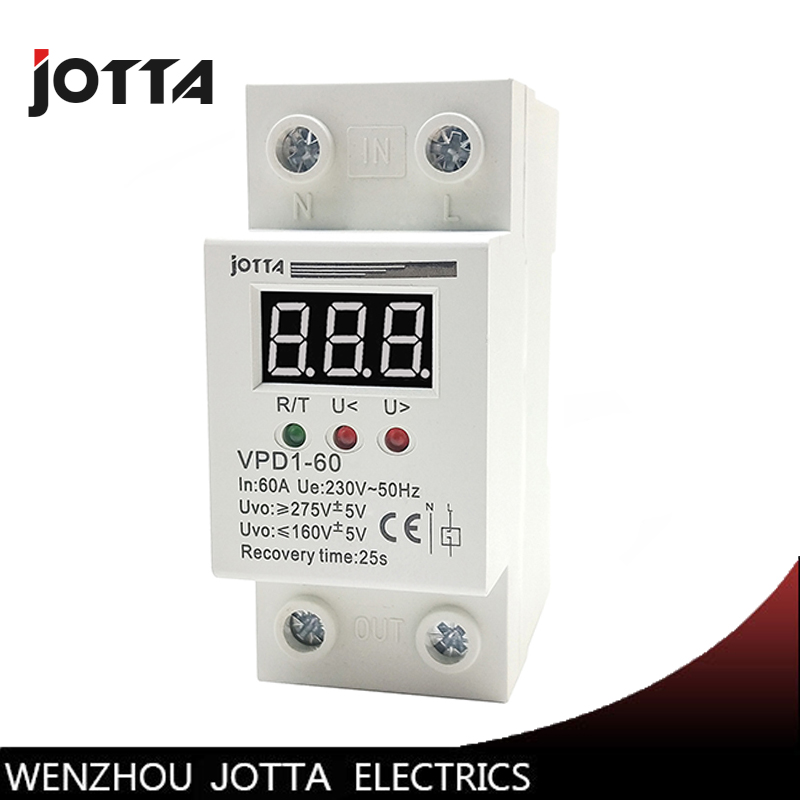 60A 220V automatic reconnect over voltage and under voltage protection protective device relay with Voltmeter voltage monitor60A 220V automatic reconnect over voltage and under voltage protection protective device relay with Voltmeter voltage monitor