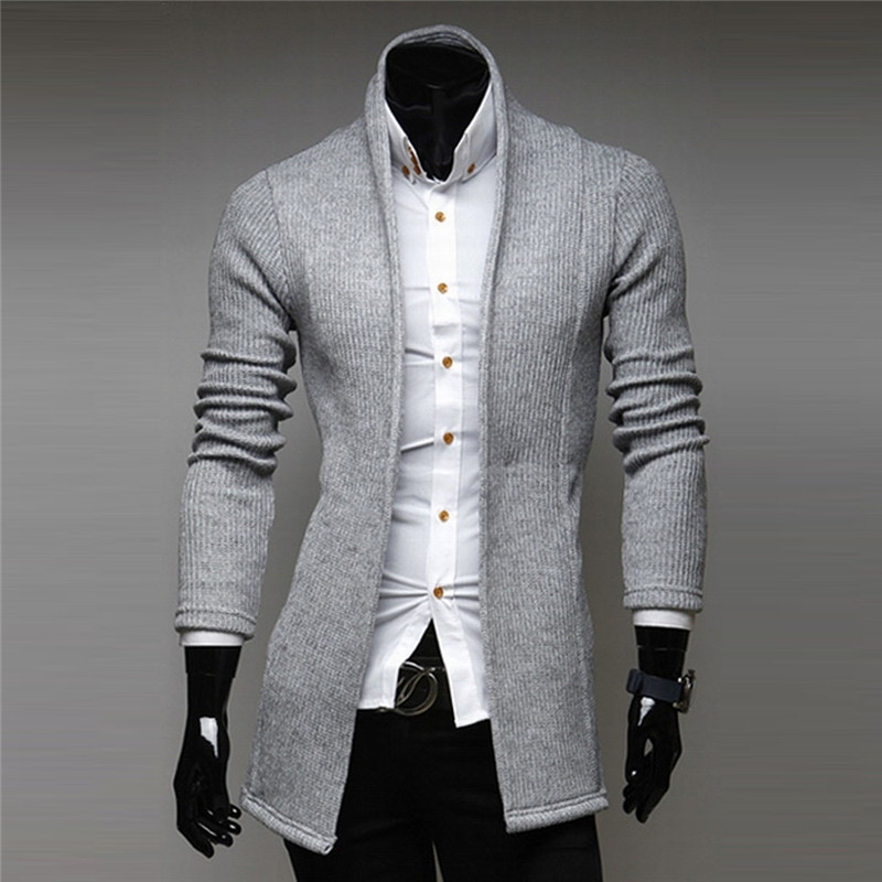 Fashion Mens Open Shawl Sweater Turtleneck Slim Fit Knit Cardigan ...