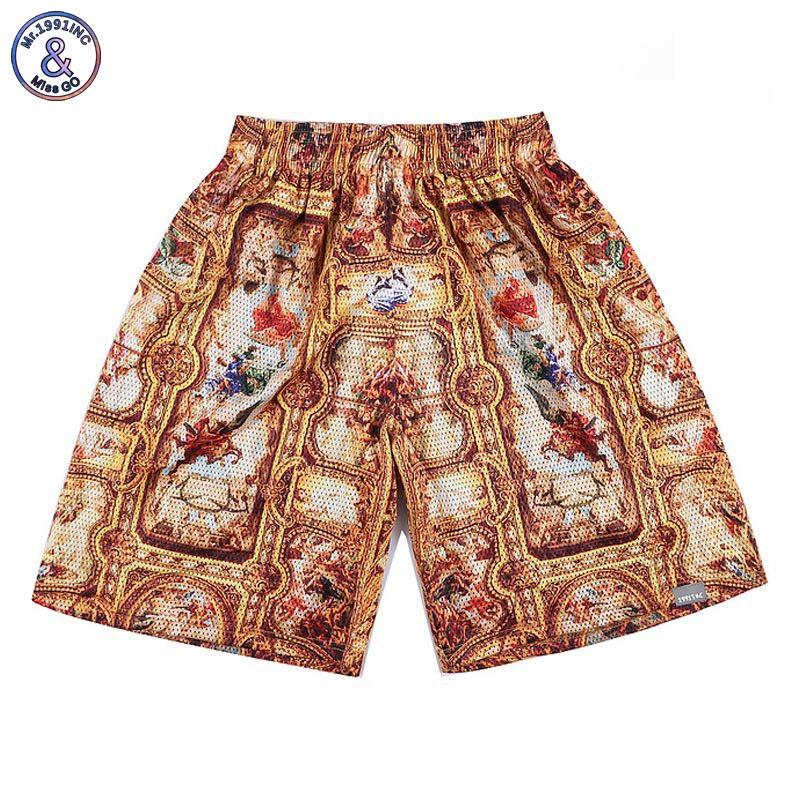 2017 mr.1991inc männer shorts 3d palast-stil print goldene blumen marke shorts jogger mesh atmungsaktive kurze hose s37