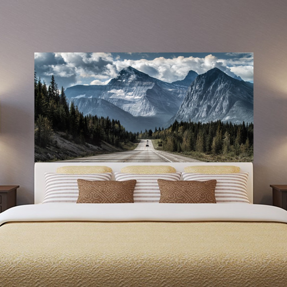 Sky Mountain Road Wald Chic Kopfteil Wand Aufkleber Vinyl Kunst Aufkleber  Bett Wand Aufkleber Für König