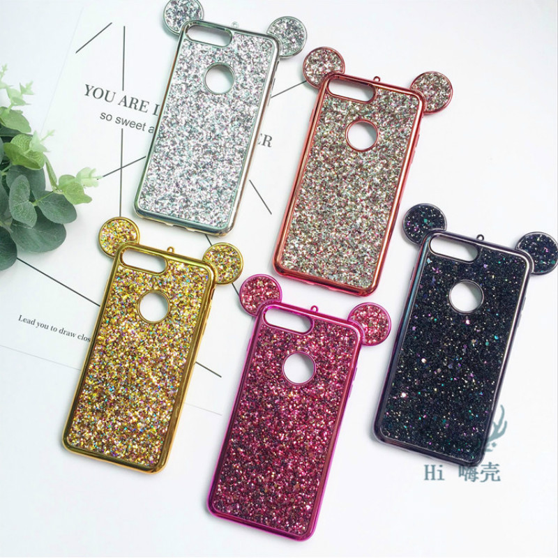 Luxury Bling Glitter 3D Cartoon Mouse Ears Soft TPU Case For Samsung Galaxy S6 S7 Edge S8 S9 Plus Cover Phone Bags <font><b>Coque</b></font> Caqa image