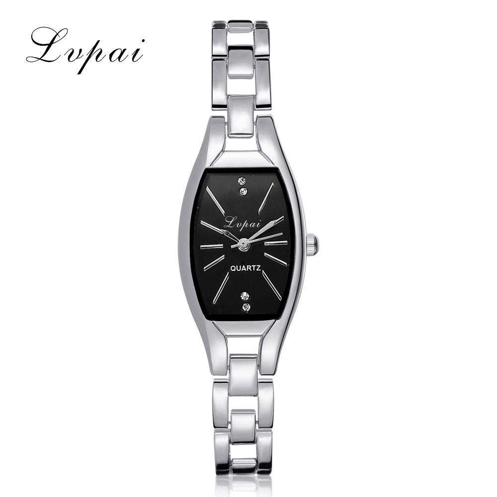 LVPAI Fashion Ladies Women Unisex Stainless Steel Rhinestone Quartz Wrist Watch 40p women Simple watches men 1