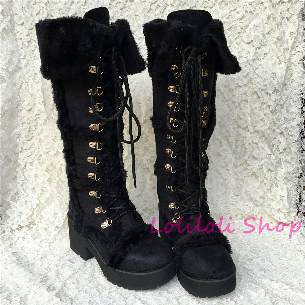 Princess sweet lolita shoe Lolilloliyoyo antaina Japanese design shoe custom black suede and thick bottom high-topped boots 5250