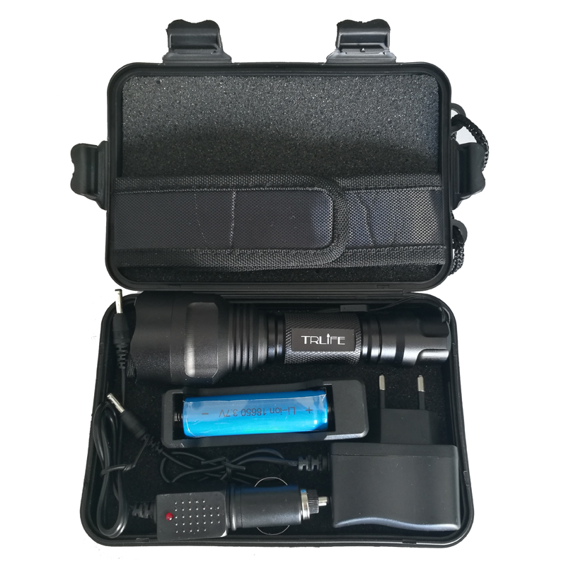 C8 8000 Lumens CREE XML T6/L2 LED Flashlight High Power Camping Light+DC/Car Charger+18650 Battery+Holster LED Torch Light Lamp cree xml t6 3000lm adjustable led flashlight led torch car charger battery charger 18650 rechargeable battery holster zk10