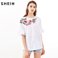 SHEIN Embroidery Short Sleeve Summer Women Blouses White Embroidered Flower Embellished Ruffle Sleeve Babydoll Top