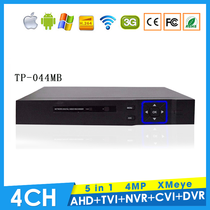 XMeye Hi3521A Chip 4MP 4CH 4 Channel Surveillance Hybrid Coaxial 5 in 1 TVI CVI NVR AHD DVR  with Remote Control Free Shipping