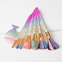 8 stks/set Glitter Diamant Regenboog Handvat Make Borstels Cosmetica Blusher Poeder Blending Make Up Kwasten Mermaid Diamond Borstel