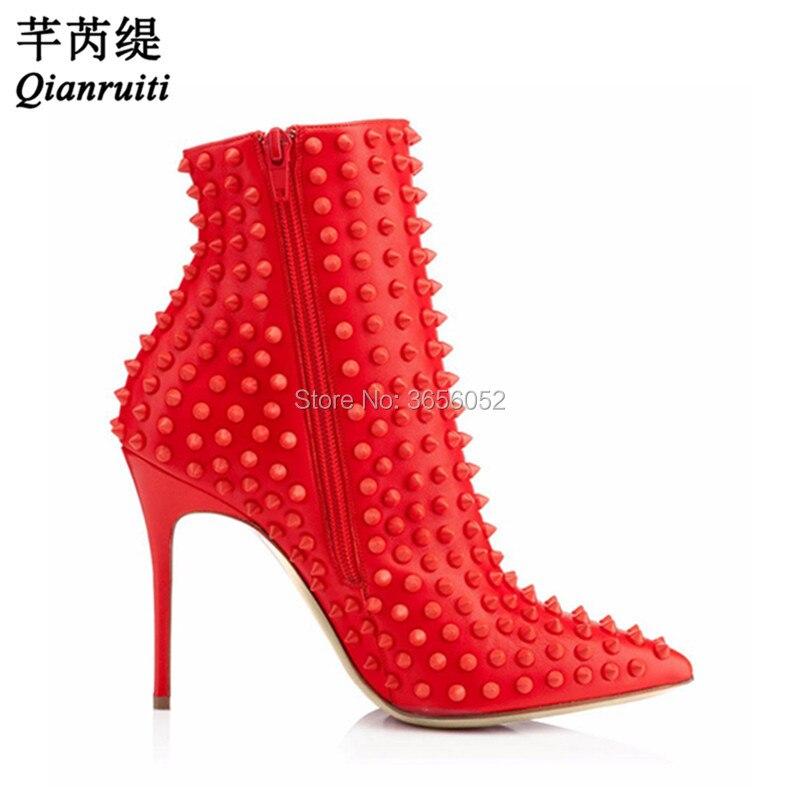 Rivet Noir Black À Designer Femmes Chaussures Cloutés Chaussons Cuir Rouge Pointes New Bottes En red Brand Cheville Pointu Qianruiti Bout Talons Hauts FBgCOO