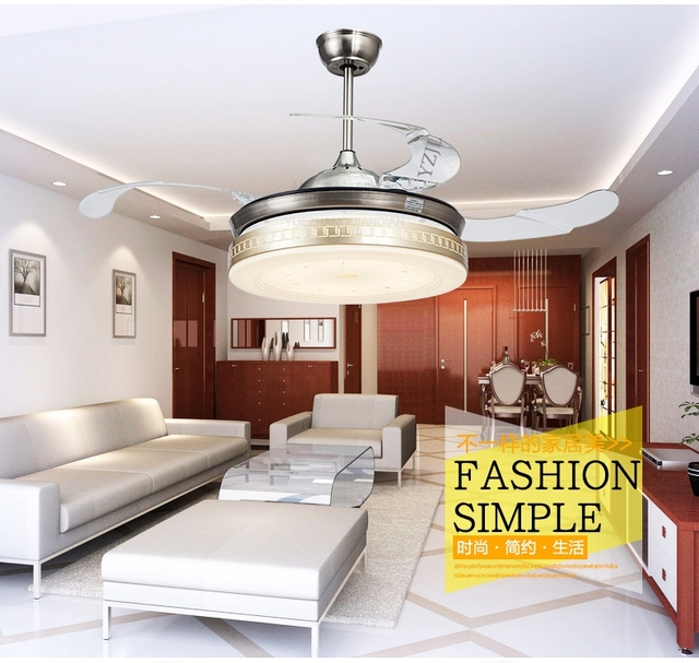 Living Room Dining Lights Fan LED Stealth Retractable Take Off Local Golden