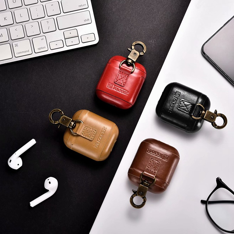 Metal Buckle Genuine Leather Case For Apple Airpods Shockproof Cover For Apple AirPods Earphone Cases Air Pods Protector Case leather