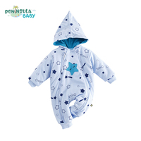 Baby Clothing Autumn Winter Long Sleeves Double Zipper Thicken Warm Boys Girls Baby Rompers Star Print