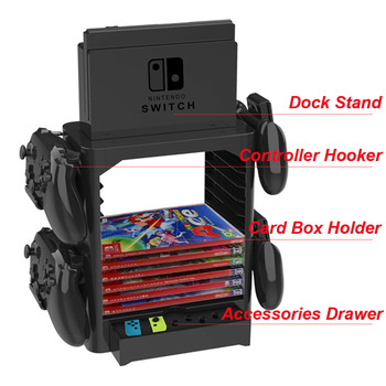 Yoteen Multifunctional Game Card Box Storage Tower Dock Stand Holder Bracket for Nintend Switch Console Controller Hooker Drawer