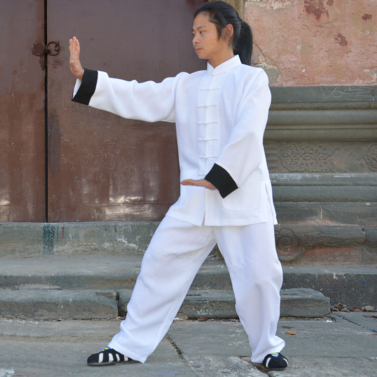 Top grade Chinese Tai chi Uniform Linen Cotton Martial arts Wushu Clothing Wing Chun taiji clothes Kung fu Suit for men women купить недорого в Москве