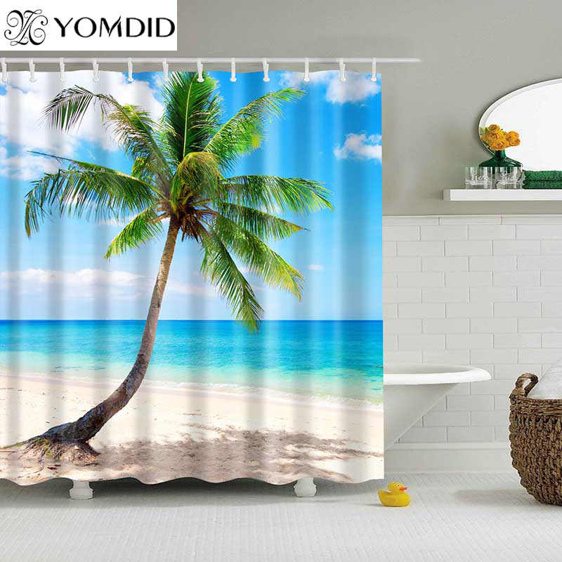 1PC Green Tropical Plants Shower Curtains for Bathroom Polyester Seaworld Shower Curtain Printing Curtain Beach Shower Curtains