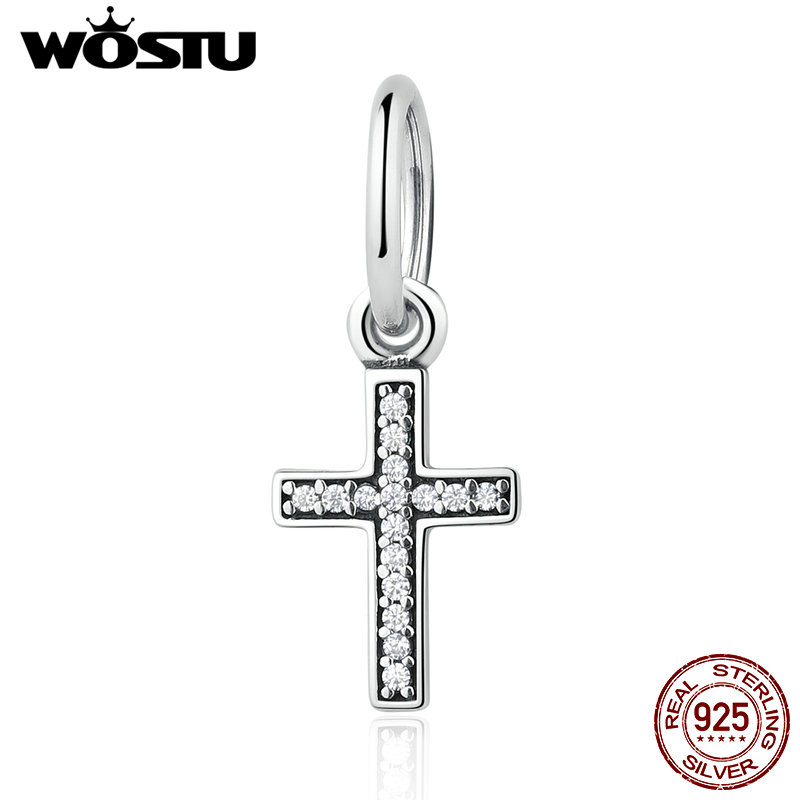 Real 925 Sterling Silver Symbol Of Faith Cross Dangle Charm Fit Original wst Bracelet Authentic Jewelry Christian Gift цена 2017