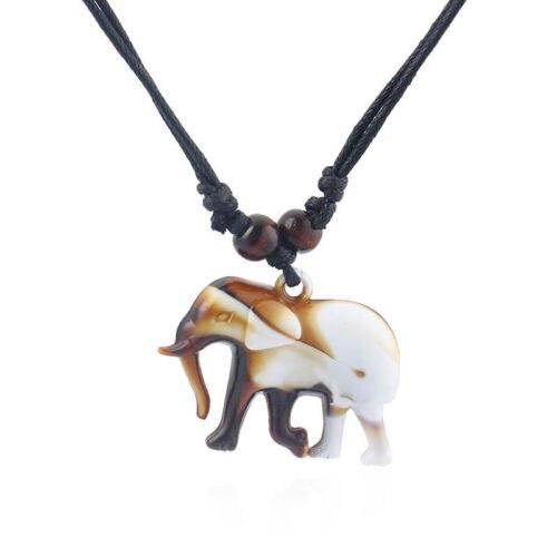 1pcs Brown Faux Yak Bone Carved 3d Elephant Charm Pendant Necklace Adjustable Innovatis Suisse Ch