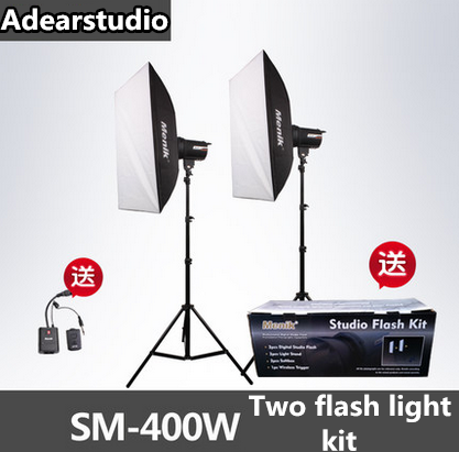 цены Menik SM-400 Studio Flash Lighting Kit 400W Strobe Flash Light + (2) 240cm Light Stands+ (1) Flash Trigger no00dC