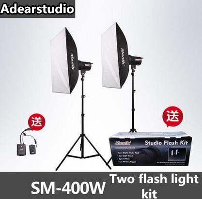 Menik SM-400 Studio Flash Lighting Kit 400W Strobe Flash Light + (2) 240cm Light Stands+ (1) Flash Trigger no00dC godox 300sdi 900w 300wx3 studio flash lighting flash trigger rt 16 50x70 diffuser flector photography strobe light kit