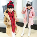 2017 Winter Girls Fashion Long Fur Coat Kid Thickening Fluffy Warm Outerwear Knitted Spliced Jacket Children's Wear Overcoat