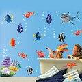 Frete Grátis 1 pcs Hot Removíveis Adesivos de Parede peixes de mar banheiro caixa berçário decalques de decoração para casa Adesivos Pvc 617