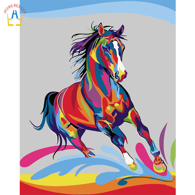 Acrylic Paints Drawing By Numbers Colorful Horse Picture On The Wall