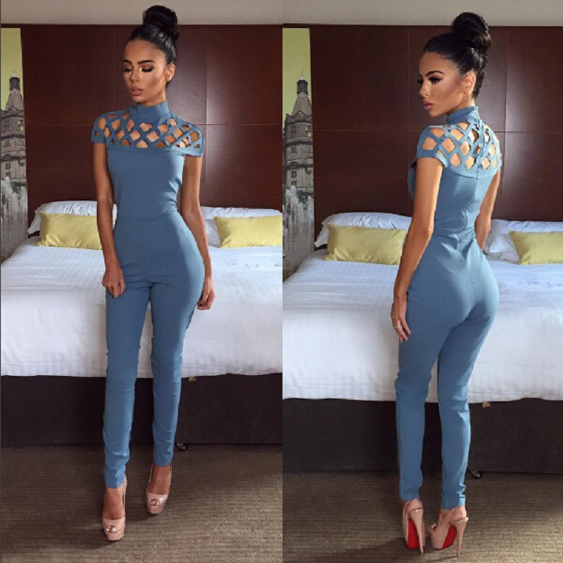 New Style 2017 Fashion Solid Hollow Out Casual Romper Full Length Playsuit High Neck Bodycon Rompers Womens   Jumpsuit   AQ958800