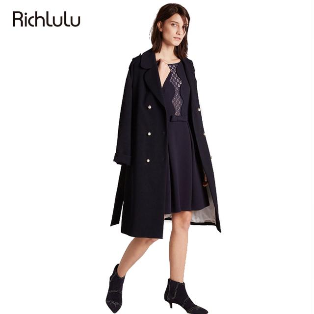 RichLuLu Quente Trench Coat Mulheres Único Breasted Turn-Down Collar Solto Outwears Casaco Fêmea Magro Ocasional de Manga Longa Elegante