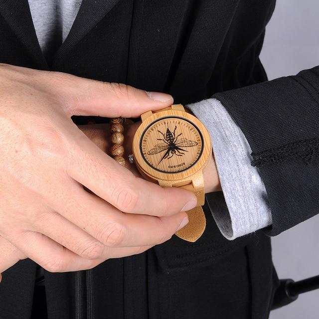 BOBO oiseau en bois montres hommes réaliste conception spéciale UV impression cadran visage bambou relogio masculino idéal cadeaux garde-temps C-P20 5