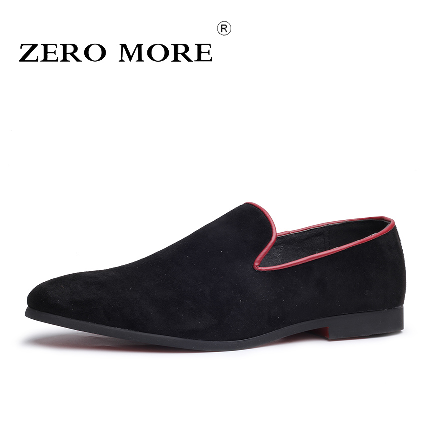 ZERO MORE Slip On Shoes Men Black Faux Suede 2018 Soft Moccasins Solid Mens Shoes Casual Loafers Fashion Large Sizes Comfortable