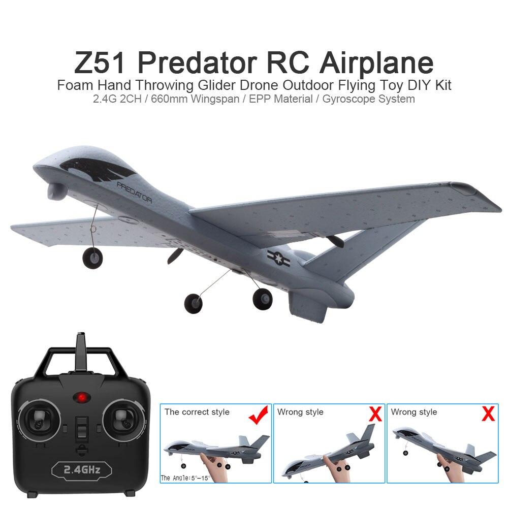 RC avión Z51 20 minutos Fligt tiempo planeadores 2,4g 2CH volando modelo alas de avión con LED mano tirando juguetes y regalos de los niños