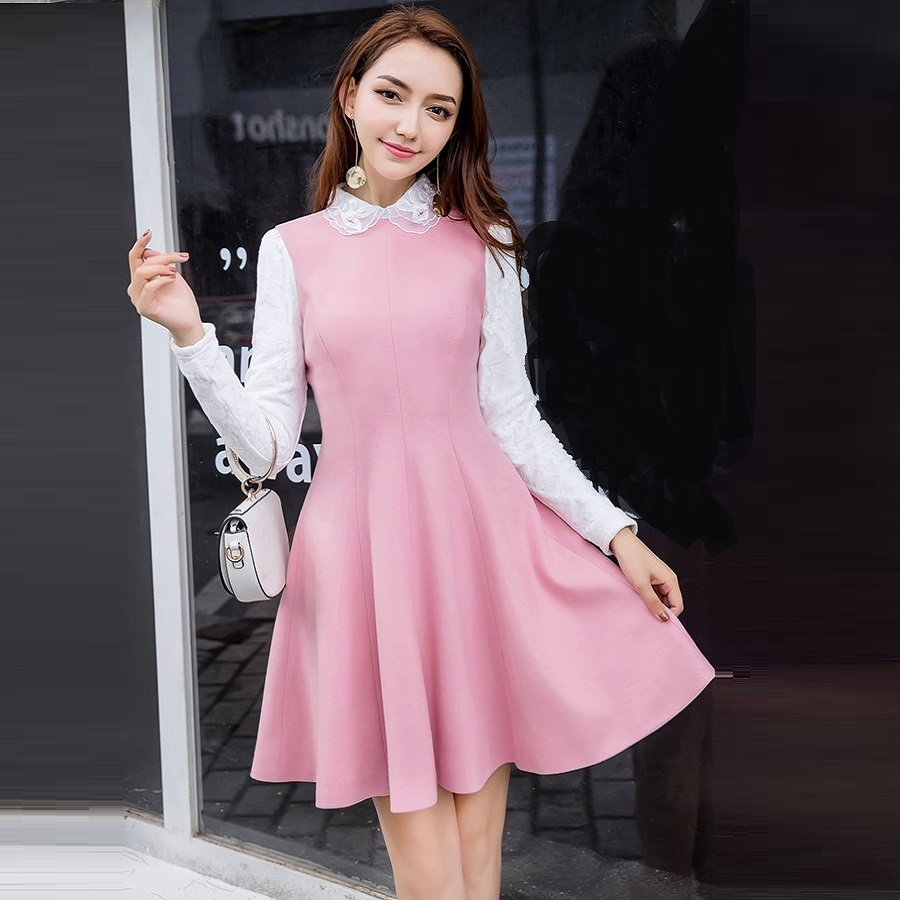 2017Winter dress Cute women woolen Dress elegant turn down collar lace sleeves velvet pinched waist plus size vestido XXXXL19819