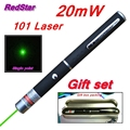 [RedStar]20PCS/LOT 20mW 101 Green & Red Laser pen 532nm single point laser pen pointer indicative pen Gift set include metal box