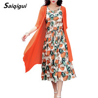 Saiqigui 2017 Summer Dress Women Dress Casual Loose Tow Piece Cotton Line Dress Print O Neck