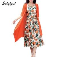 Saiqigui 2017 Summer Dress Women Dress Casual Loose Tow Piece Cotton Line Dress Print O Neck