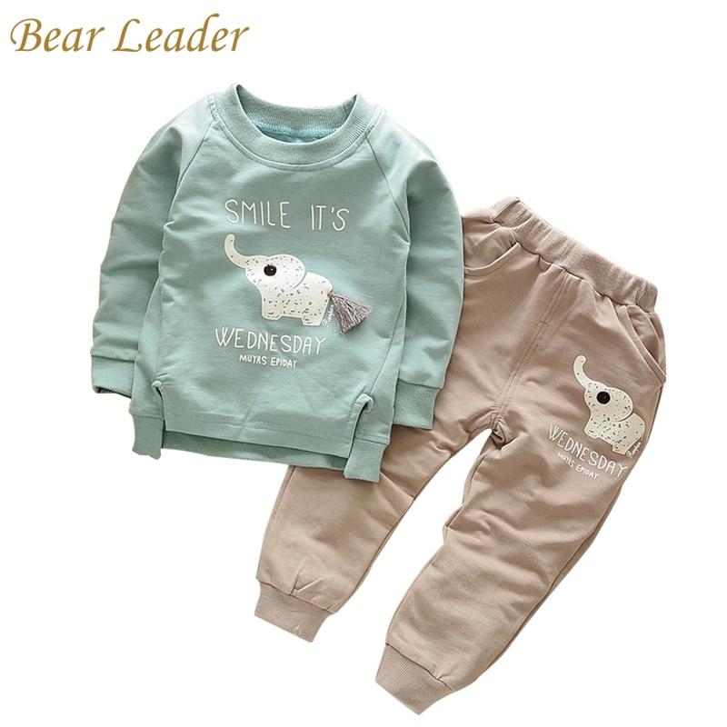 bb9cd4310 الدب زعيم طفل مجموعة 2018 الربيع أزياء نمط الكرتون مجموعات ملابس للأطفال  طويل كم قميص + الجينز السراويل 2 Ps الفتيان الملابس الاطفال الملابس 1-4y