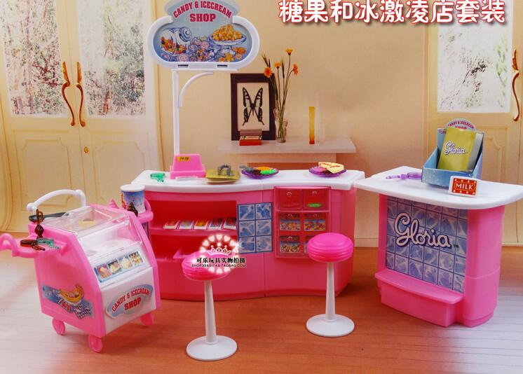 Free Shipping Pink Candy Ice Cream Shop Supermarket 1/6 doll accessories doll furniture for barbie doll Free Shipping Pink Candy Ice Cream Shop Supermarket 1/6 doll accessories doll furniture for barbie doll