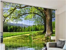 Новый современный плотные гардины зеленое дерево 3D шторы для Постельное белье Гостиная hotel шторы Cortinas де Sala