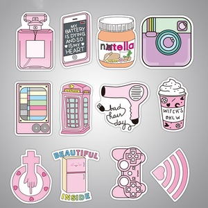 Image 4 - 50 pcs/pack Pink Fashion Style Graffiti Stickers For Moto car & suitcase cool laptop stickers Skateboard sticker