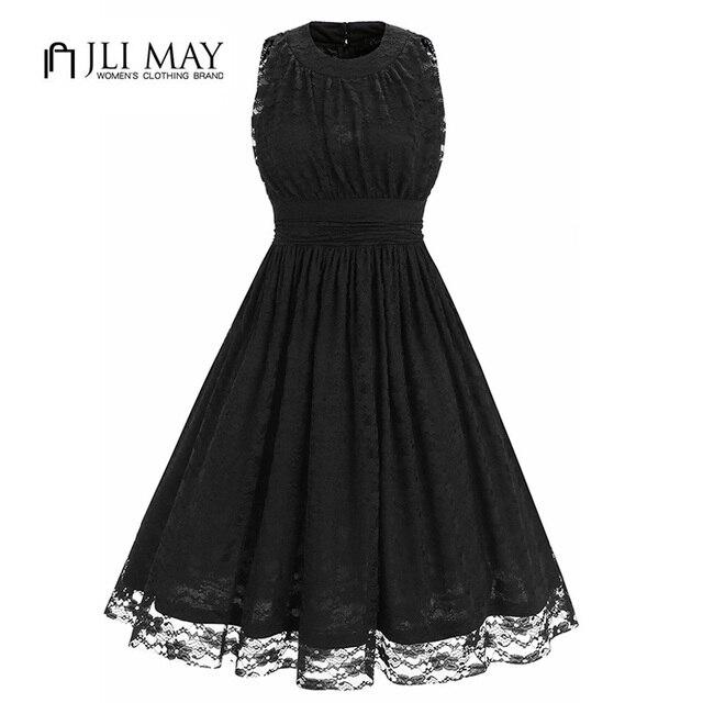 JLI MAY Summer lace black Dress women O-Neck Solid Ball Gown Sleeveless  high waist cbdfe1dd6bfa