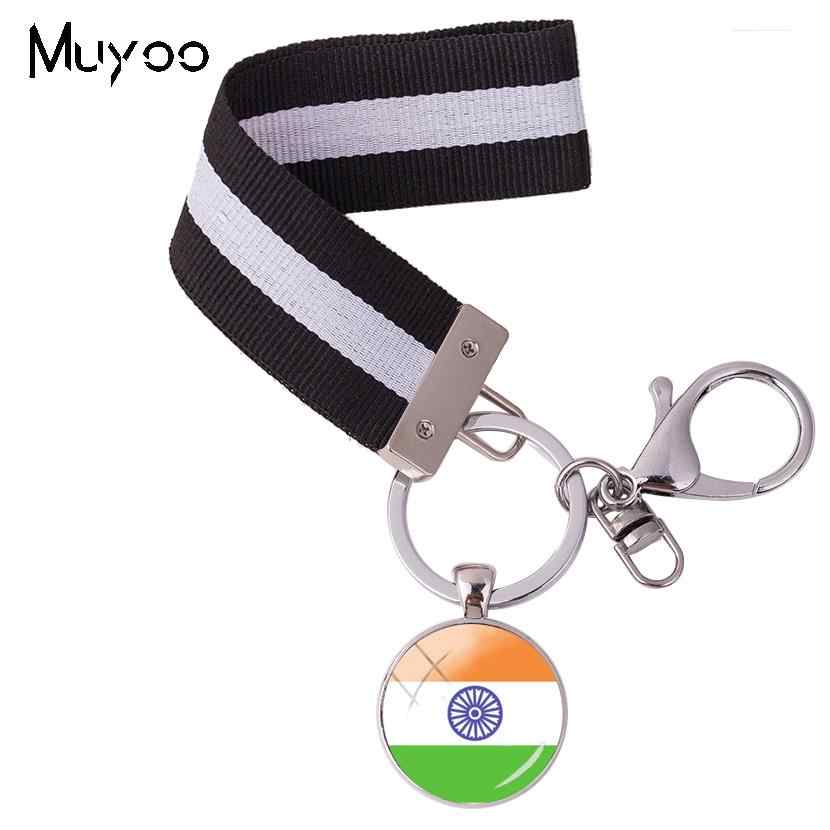 2018 nuevo diseño bandera India país llavero bandera del sur de Asia banderas nacionales icono cristal redondo pulsera llavero