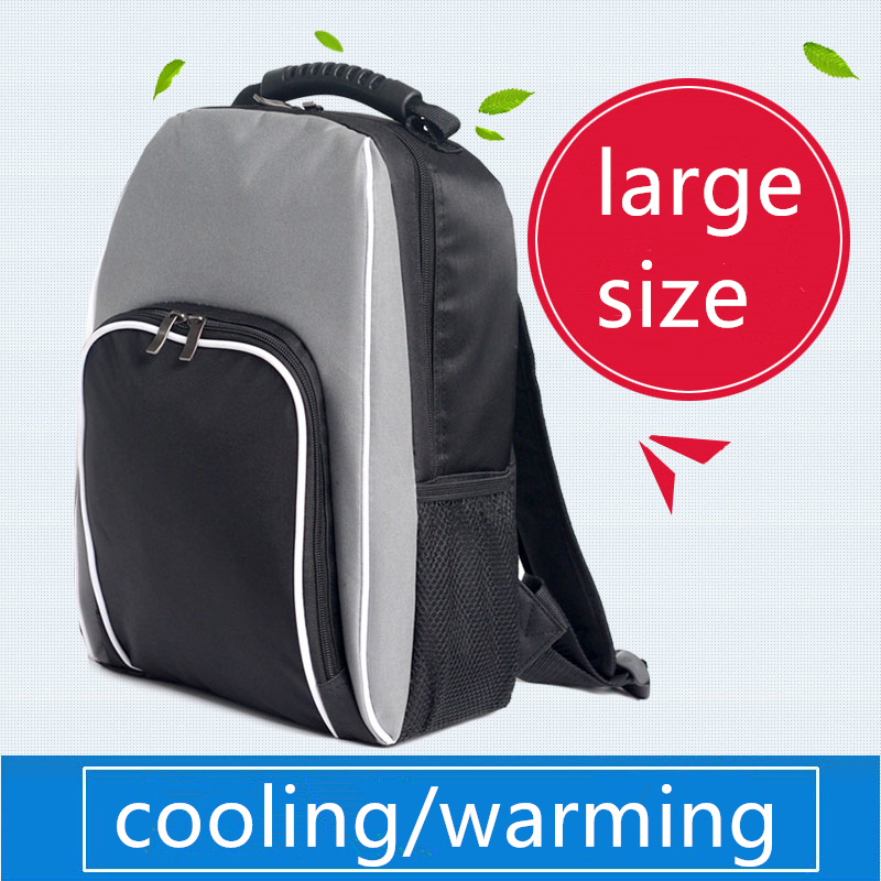big large black thick thermal cooling backpack family picnic food storage bag insulated organizer height 45cm,width 33cm image