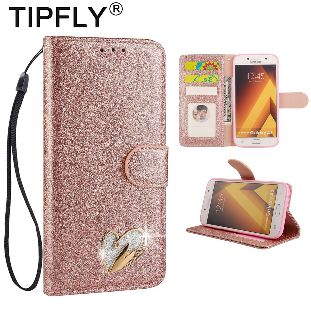 TIPFLY Phone Cases For SAMSUNG Galaxy A5 2017 PU Leather Bling Glitter Covers Capa For SAMSUNG A5 (2017) Book Flip Coque