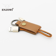 ENJOWI Leather Lanyard Keychain USB cable 2.4A fast Charger cable for samsung Android phones Huawei Xiaomi IOS Universal Charger