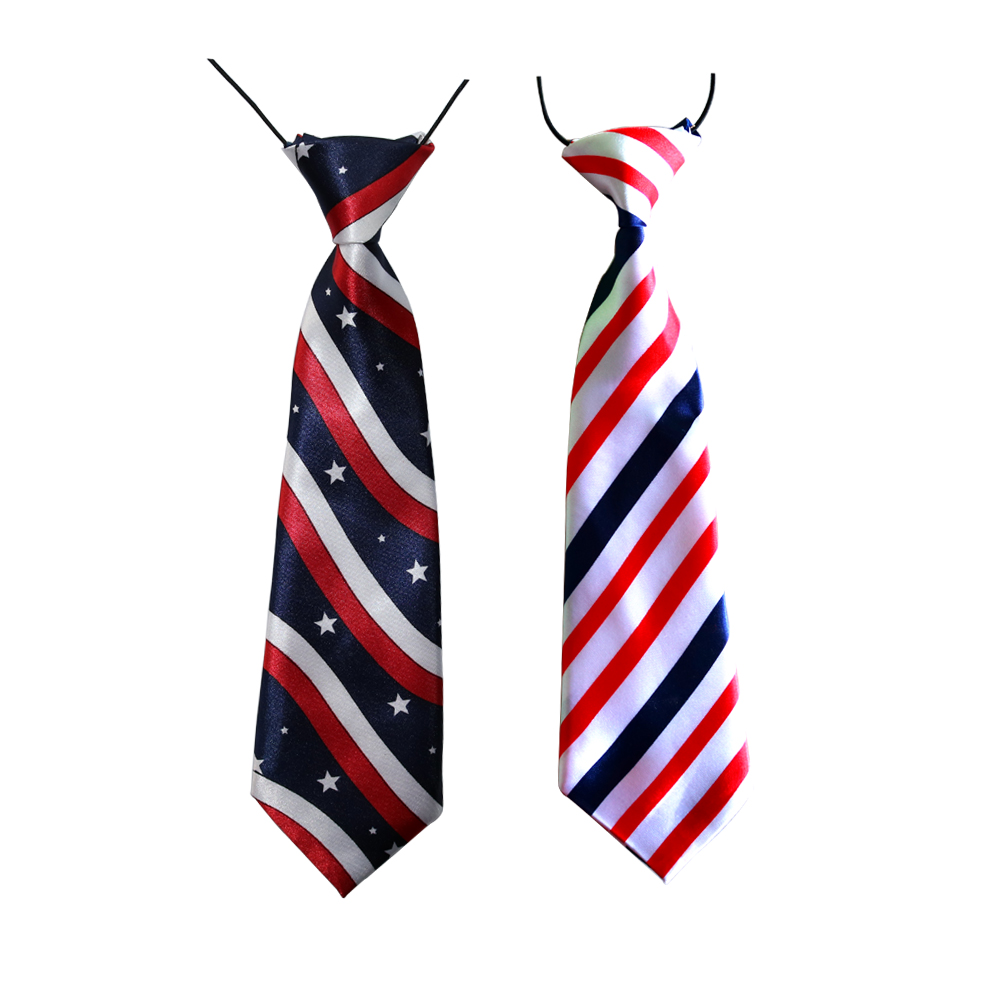 100PC Lot Large Dog Ties for 4th July Red White Blue Stripes Big Dogs Neckties Dog