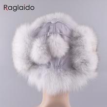 Raglaido Women's Hat with Ear flaps Ushanka Bomber Hats Winter a cap Snow Russian Raccoon Fox fur Hat Thick 56-59cm LQ11202