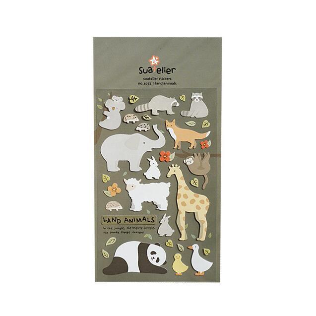 Terrestrial Animals Decorative Washi Stickers Scrapbooking Stick Label Diary Stationery Album Stickers