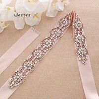 Rose gold Bridal Belts Rhinestones Pearls Wedding Belts Wedding SashesBridal Sashes Wedding Accessories S190RG