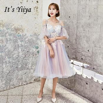 5325d986c Es YiiYa Prom vestido azul Rosa Appliques Beading Sexy ilusión fiesta  DressesSpaghett correa de moda Formal corto vestidos E070