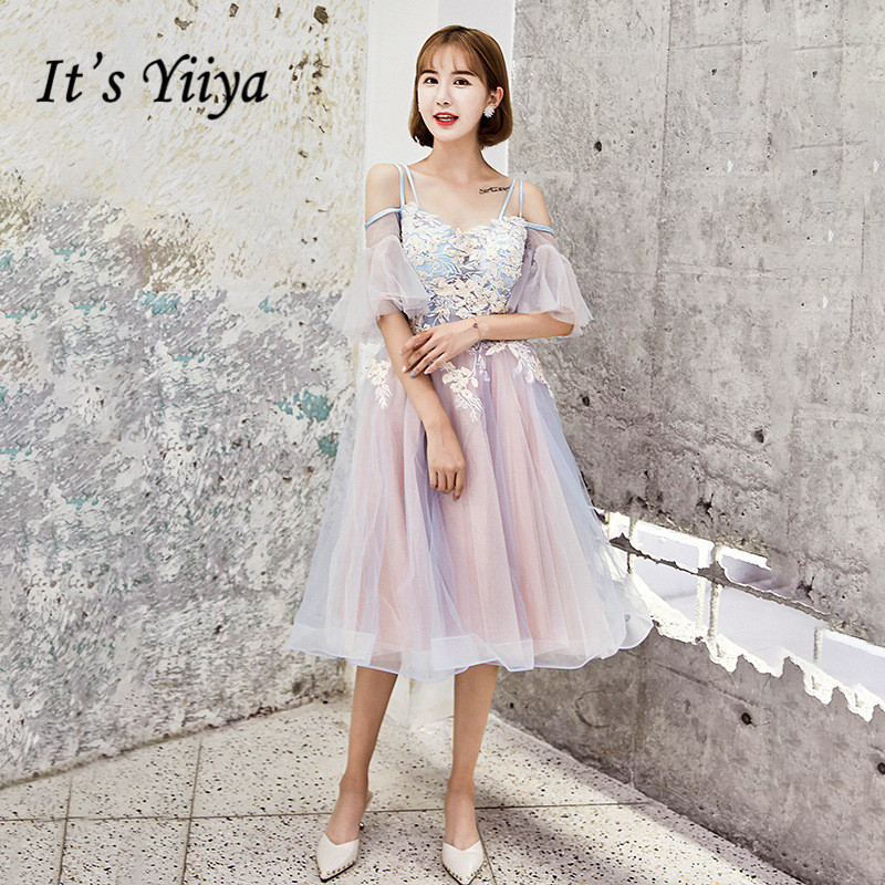 It's YiiYa   Prom     Dress   Blue Pink Appliques Beading Sexy Illusion Party DressesSpaghett Strap Fashion Short Formal Gowns E070