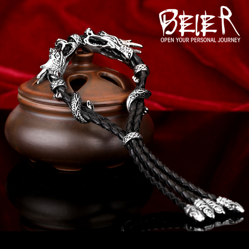 Beier new store 316L Stainless Steel bracelet genuine leather Punk domineering dragon Chain men Bracelets Bangles LLBC8-002R trustylan cool stainless steel dragon grain bracelets men new arrival punk rock keel mens bracelets